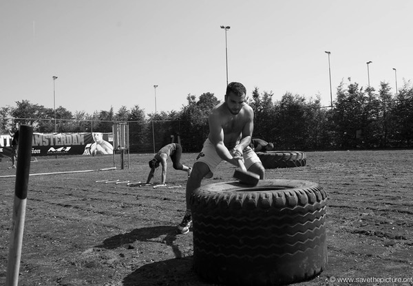 2themaxmmafitness outdoor strength training, Jaoud Ikan using the sledge hammer