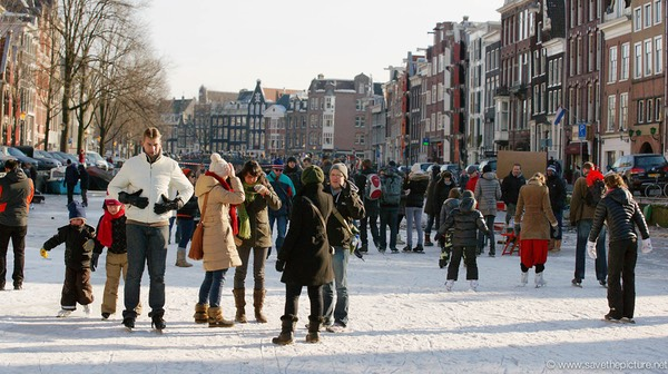 Amsterdam frozen canals, magic bubbles