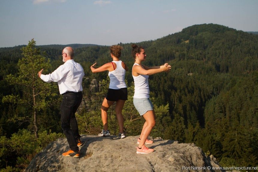 Antoine, Isabelle and Nadja on top of the world ZenmaX Natural Tuning Taikiken workshop Czech Rep