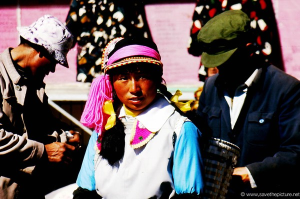 Lijiang Naxi girl blushing