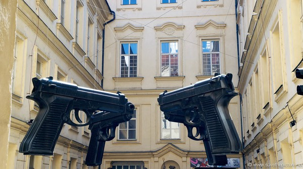 Giant Pistol Art in Prague