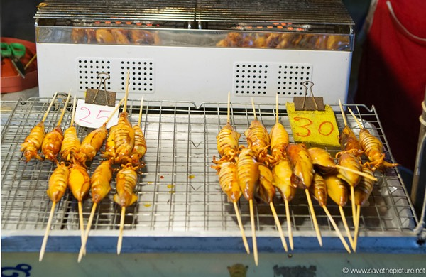Fried squid on a stick on the Lamai night market