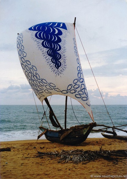 Sri Lanka catamaran sail art blue