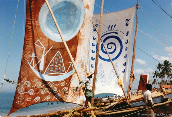 Sri Lanka catamaran art brown blue sails