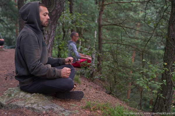 Taikiken Natural Tuning 2016, early morning Wuji sitting meditation in nature