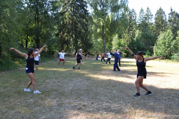 Training on the field,one of our outdoor dojos during the Taikiken Natural Tuning workshops in the Czech Republic