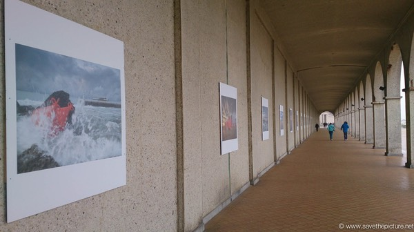Faces of the sea at the boulevard in Ostend