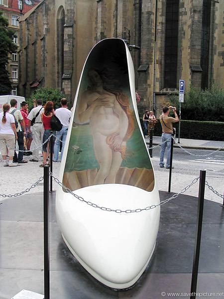 Giant painted Shoe Art in Prague